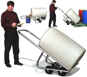 Stainless Steel Drum Truck Model 160-SS, stainless steel 4 wheel drum truck, 55 gallon drum truck, 44 gallon drum stand, 55 gallon barrel stainless steel drum truck, drum hand truck, morse drum trucks, morse equipment drum trucks, 4 wheel drum truck