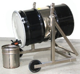 Stainless Steel Mobile Karrier Model 80i-SS, drum carrier, drum carriers, mobile drum carrier, mobile drum carriers, drum karrier, drum karriers, Morse karrier, drum pourer, mobile drum pourer, pouring drums, Mobile Drum Carriers, morse drum dumper,