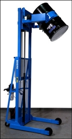 Vertical-Lift Drum Pourers, drum carrier, drum handling, drum handling equipment, drum karrier, drum karriers, Morse drum handling equipment, drum pourer, mobile drum pourer, drum dumper, Mobile Drum Carriers, morse drum dumper, morse barrel dumper,